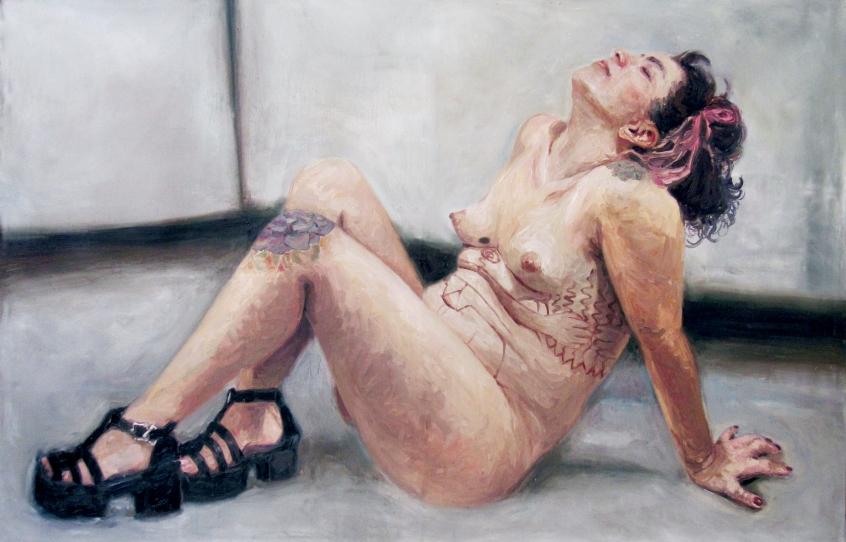musa contemporanea, 95x150 cm oleo sobre tela, 2017