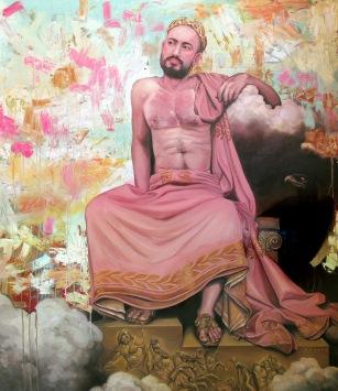 """Um deus grego (após Ingres)"""", óleo sobre tela,160 x 140 cm , 2016"""