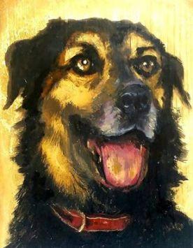 The dog is my lord, oleo sobre madeira e folha de ouro, 50x60 cm