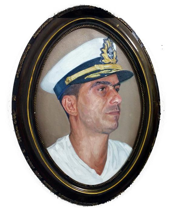 """Falso Retrato Oficial do comandante da marinha do ES Marcio Pelegrino Antonelli"""", óleo sobre painel e moldura de madeira, 61 x 46,2016"""