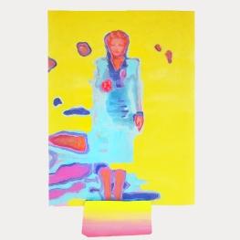 Título: Funhouse n.04 año de realización: 2020 Técnica: acrílica sobre papel y pieza de ladrillo pintada Dimensiones: 24 x 31 cm