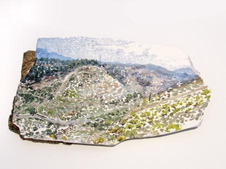 Panorama concreto n. 5 ladrillo, piedra, cemento, escayola, yeso, pintura a oleo. 2019Dimensiones aprox. 34x19x12 cm