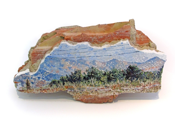 Panorama concreto n. 1 ladrillo, piedra, cemento, escayola, yeso, pintura a oleo. 2019Dimensiones aprox. 43x23x17 cm